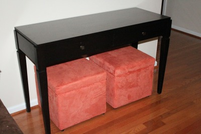 New Console Table and Storage Ottomans