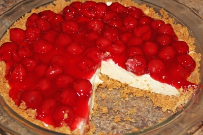 Cherry Cream Cheese Pie with Homemade Graham Cracker Crust - The Not So Desperate Chef Wife