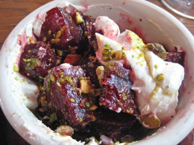 Salt-Roasted Beets with Whipped Goat Cheese & Pistachio Vinaigrette